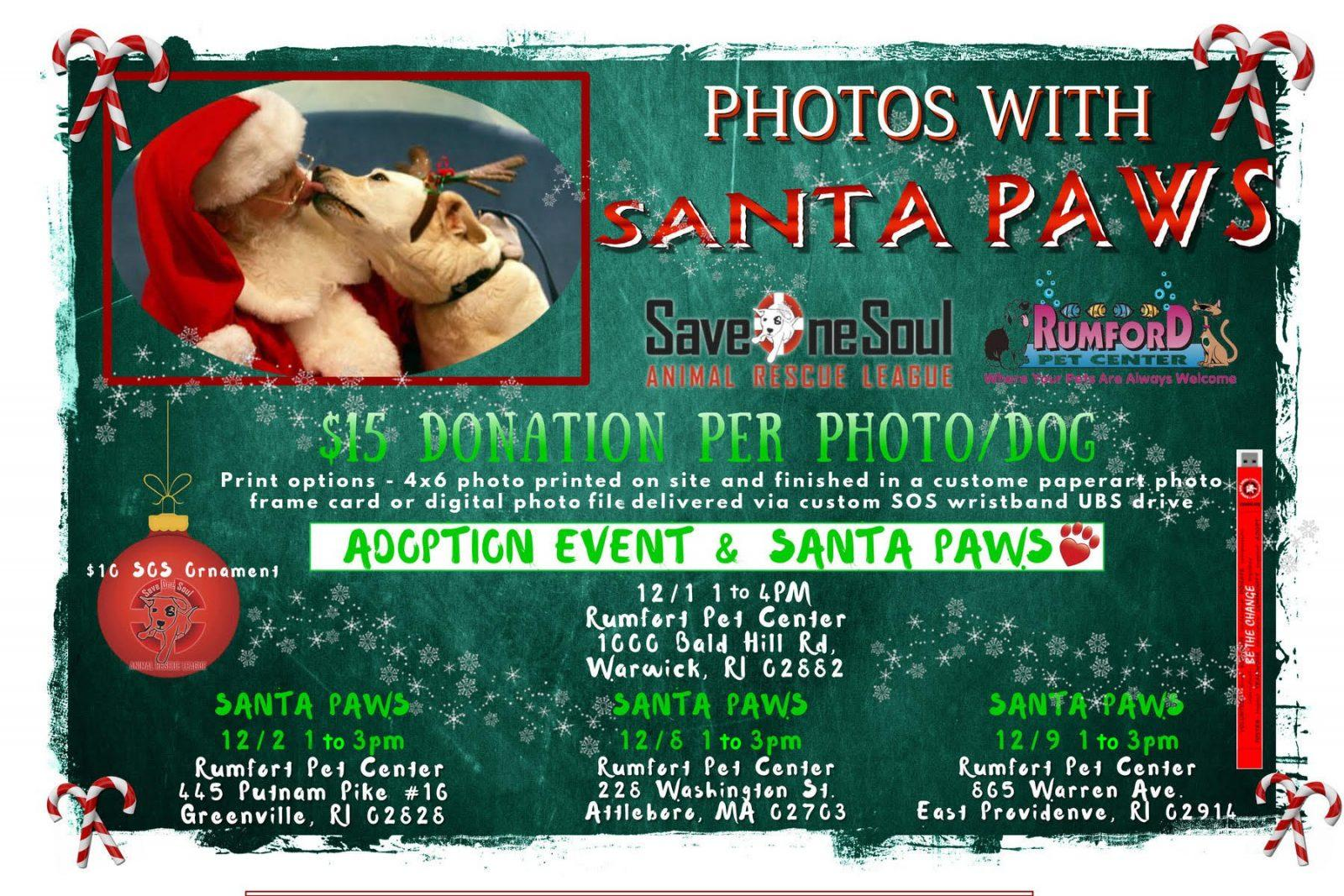 Photos with Santa Paws | Save One Soul Animal Rescue League